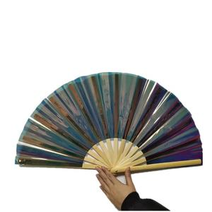 13inch length big size manual pvc hand fan with assorted colors