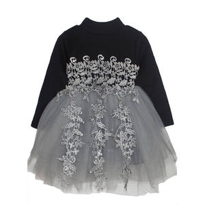 Wholesale Baby Clothes Korea Black Prom Frock Polo Collar Pattern Design Wedding Dress For Party Of Pakistan