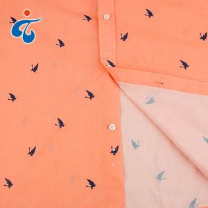 Good quality new woven short sleeve orange color cotton poplin basic shirt printing custom
