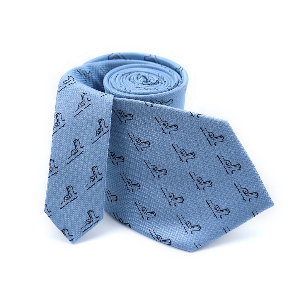 Xinli Pure Silk Black Guns Woven Necktie Sky Blue Men Custom Cravatta Ties Logo Tipping High Quality Neckties New