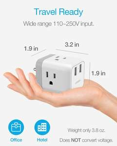 Multi Plug Outlet Extender with 2 USB Wall Charger  Cube Travel Power Strip Extension for Cruise Ship Accessories  Charging Cube