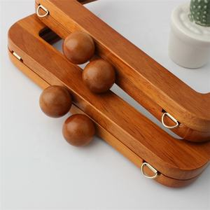 Nolvo World 2 styles 20cm Classical Round Wooden Bead Head Clutch Bag Handbag Wooden Frame