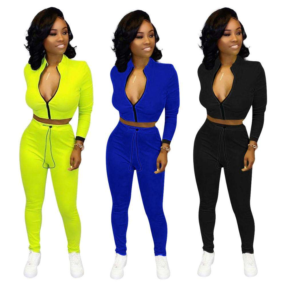 2020 Women Fall Zipper Crop Top Sweat Suit Solid Skinny Pants Two Piece Outfits Set
