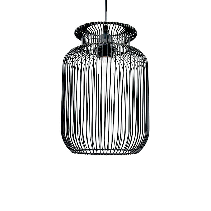 black metal wire suspended light lampshade for restaurant decoration with E27 sucket