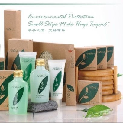 Green biodegradable 100% post-consumer recycled kraft paper packing hotel amenities