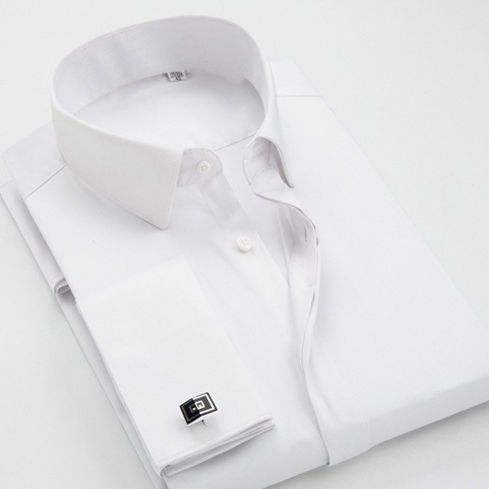 Caballero francés gemelos Color sólido Formal vestido camisa hombres