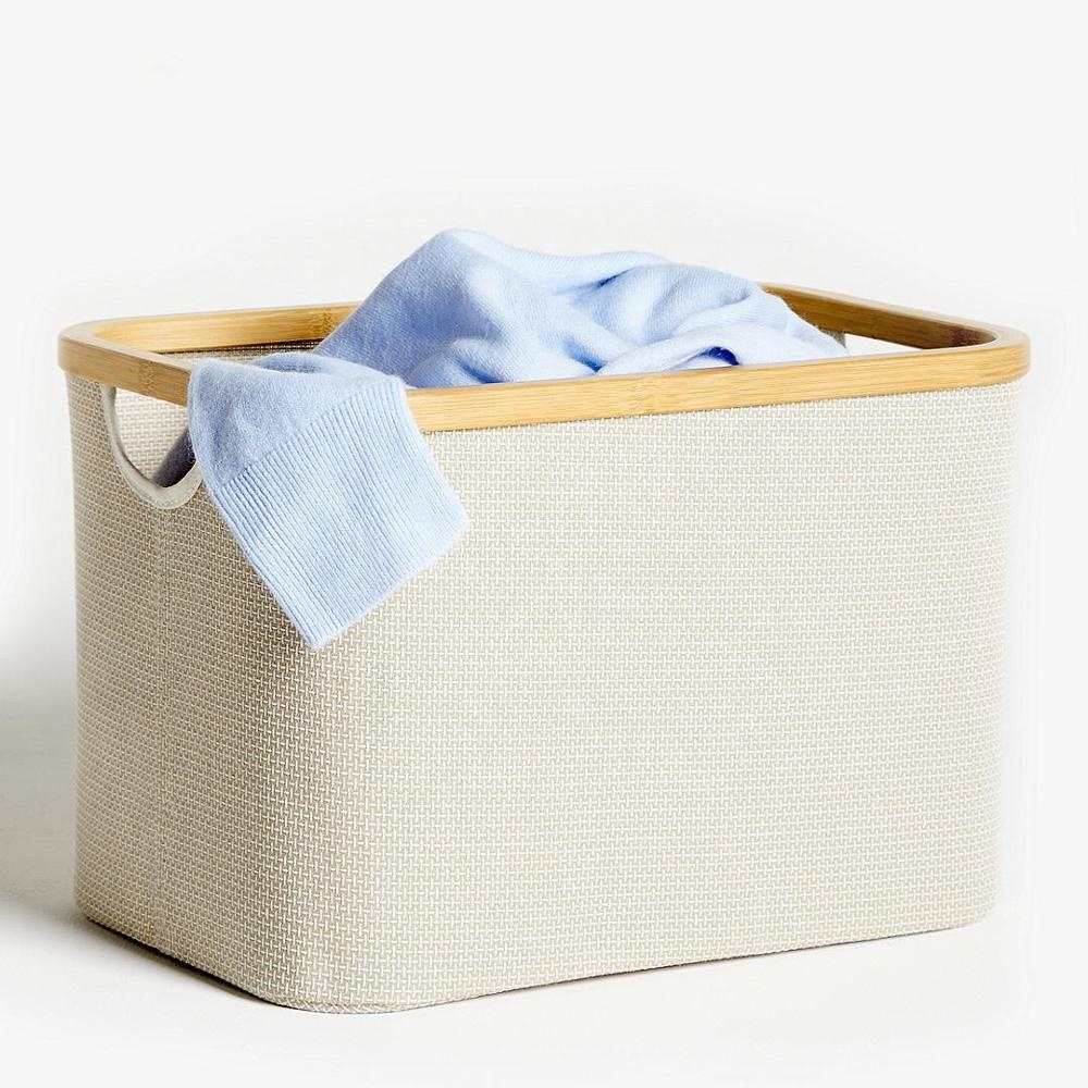 Bamboo clothing laundry basket collapsible storage folding hampers bamboo storage basket