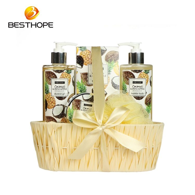 Wholesale coconut fruit moisturizing body Care basket bath gift Set for hotel
