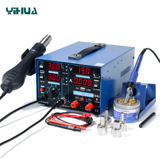 YIHUA 853D 2A 4 LED with 5V USB new type 3in1 hot air solder station and soldering iron with DC power supply