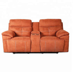 Modern Chinese furniture couple orange recliner fabric sofa with cup holder