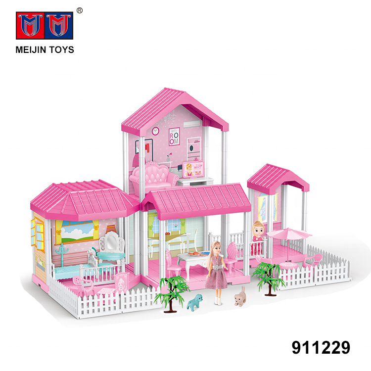 hot selling lovely villa toys plastic large diy doll house
