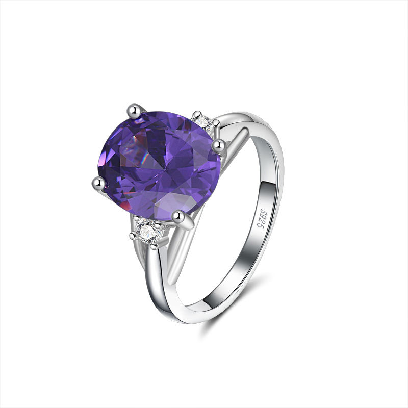 RINNTIN SR170 Diamond Women Jewellery 925 Sterling Sliver Big Purple Zircon Wedding Rings