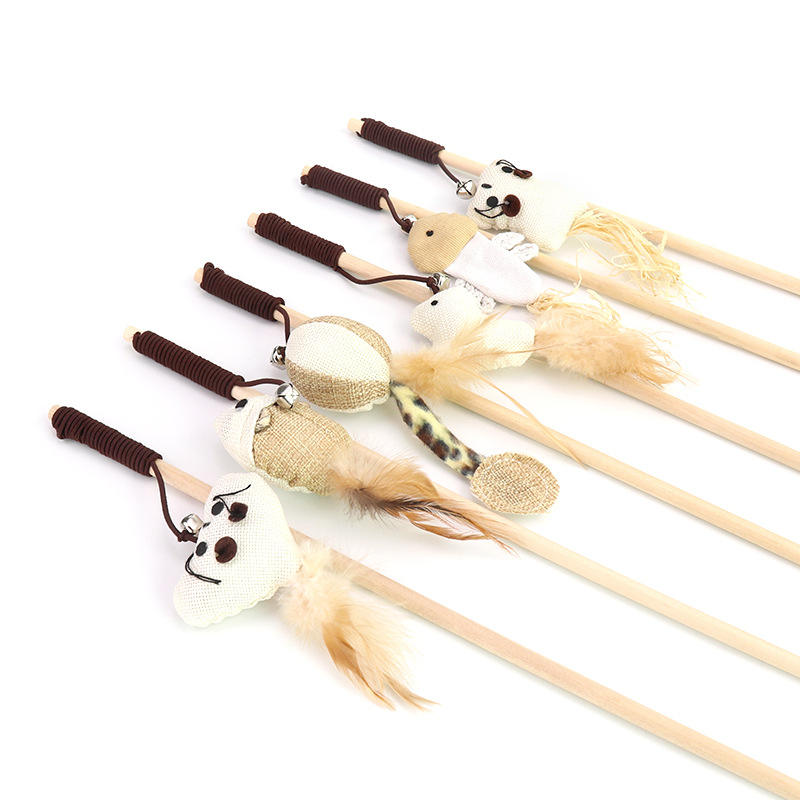 Hot selling pet supplies cat stick toy funny cat love mouse rubber band with bell wooden cat toy stick funny pet stick