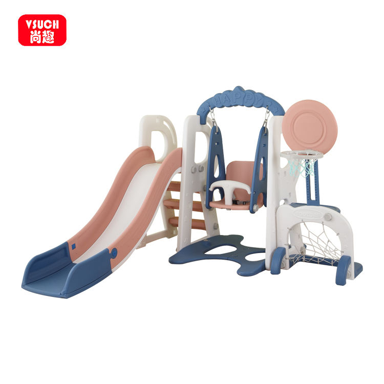 Home Use Multifunctional Combination Pink Kids Plastic Slide And Swing Sets For Kids