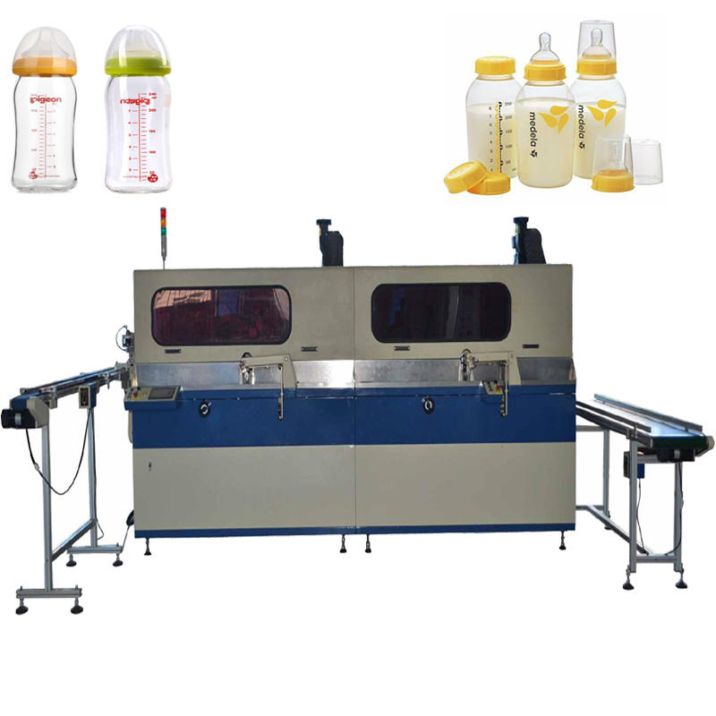 Automatic PET Bottle Screen Printing Machine 2-Colour UV Screen Printer For Feeding-Bottle