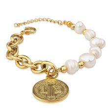 Popular Stainless Steel Gold Plated Jesus Accessories Pearl Freshwater Bead Charm Bracelet