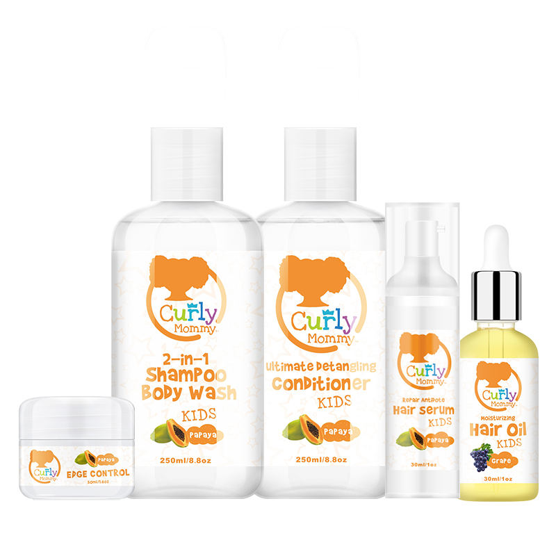 Curlymommy Private Label Sulfate Free Biotin Natural Hair Care Set For Kids