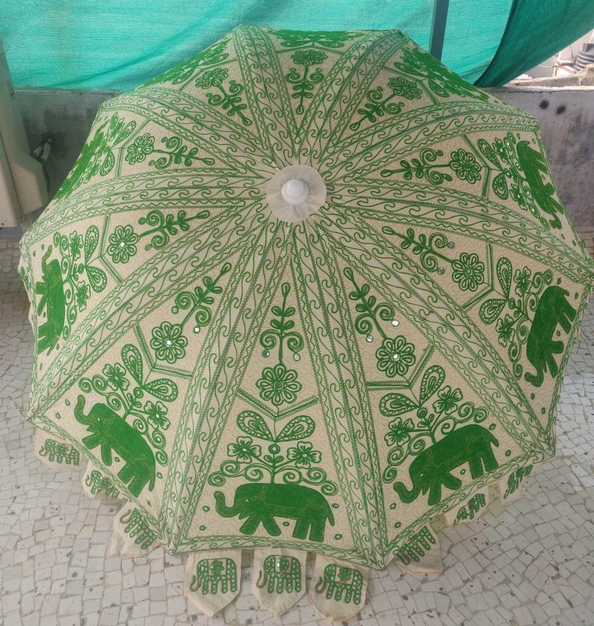 Indian handmade elephant embroidered cotton mandala multipurpose parasol decor outdoor beach garden umbrella