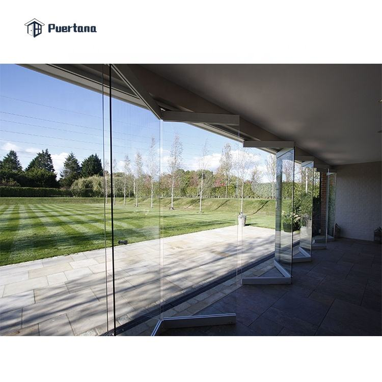 Frameless Toughened Glass Bifold Sliding Folding Doors Exterior
