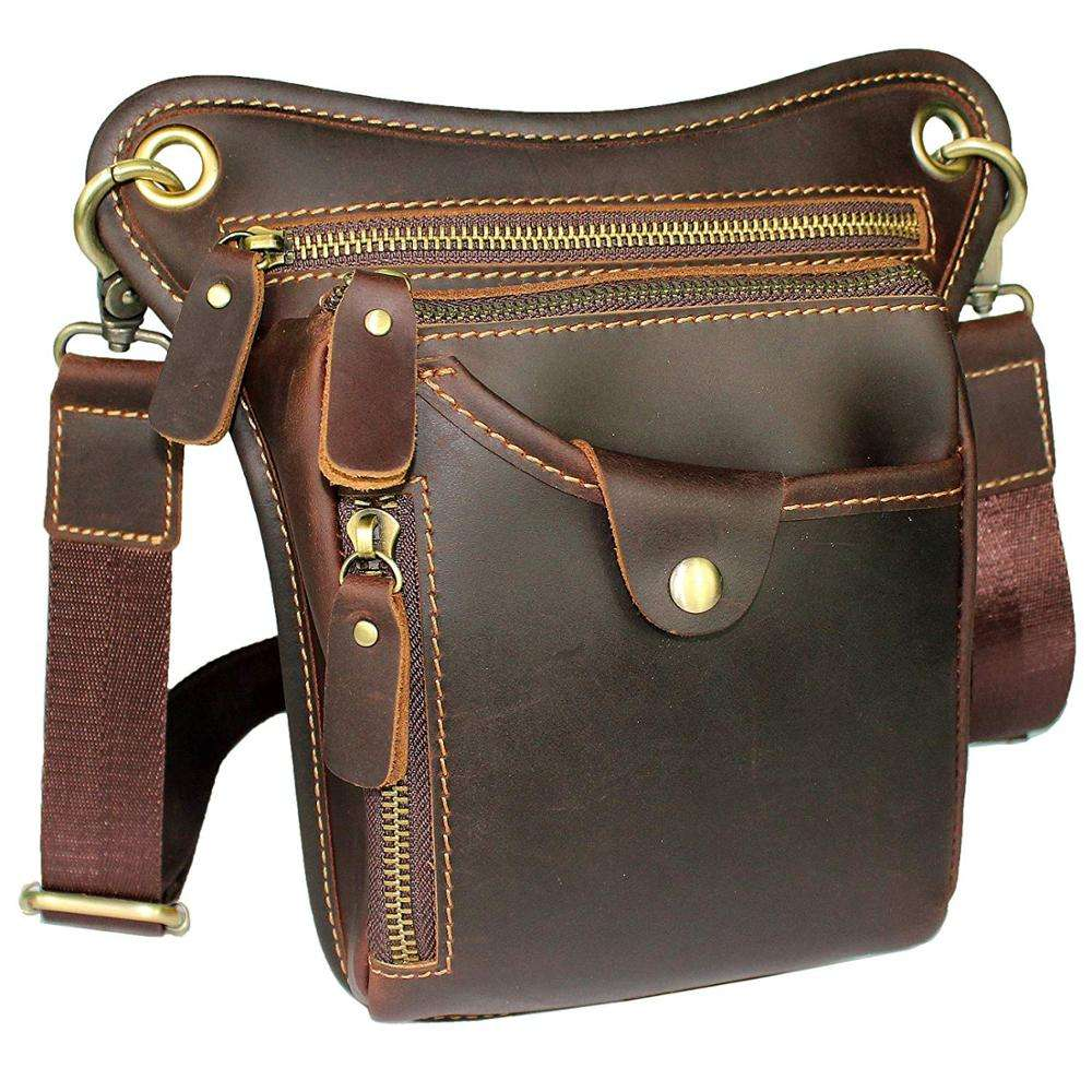 Genuine Leather Motorcycle Waist Pack Drop Leg Bag for Men/ Women Crossbody Bag