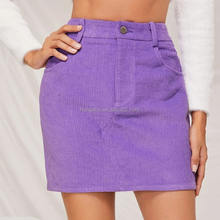 Autumn Solid Mini Pencil Skirt Women Casual A-Line Ribbed Skirt Fall Mid Waist Zipper Fly Corduroy Skirt HSK9190