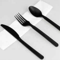 Econewleaf Colorful Disposable Napkin Plastic free Eco Friendly CPLA Cutlery Strong ODM Cornstarch Flatware Set Knife Fork Spoon
