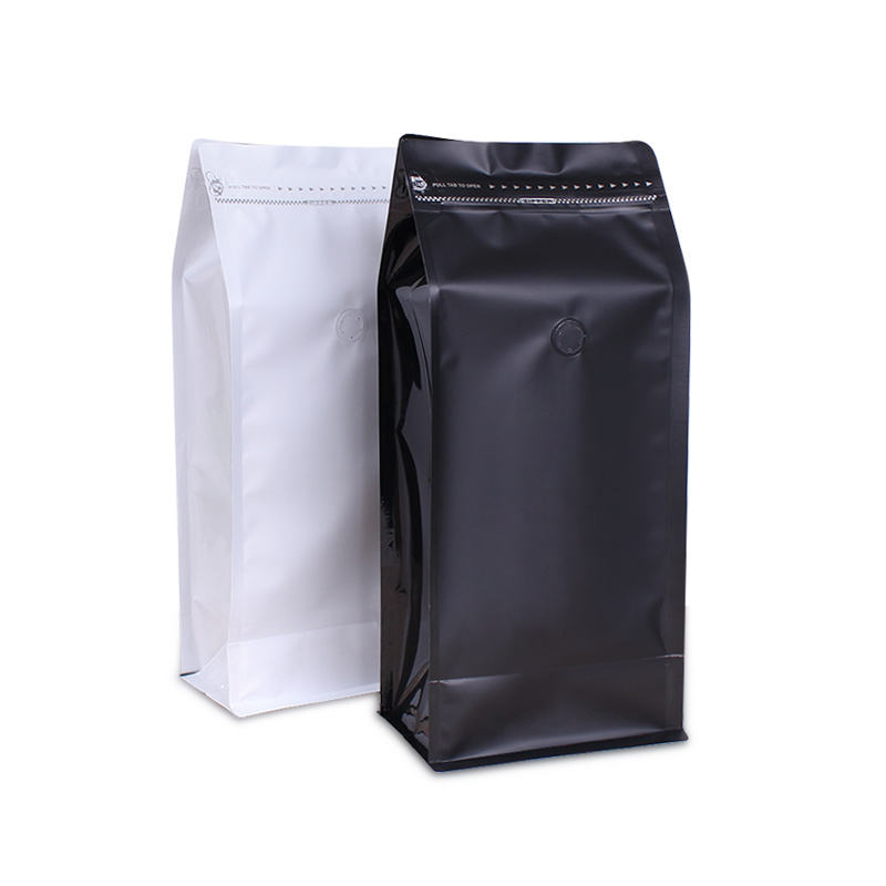 Side zipper flat bottom pouch bulk wholesale coffee bag with valve