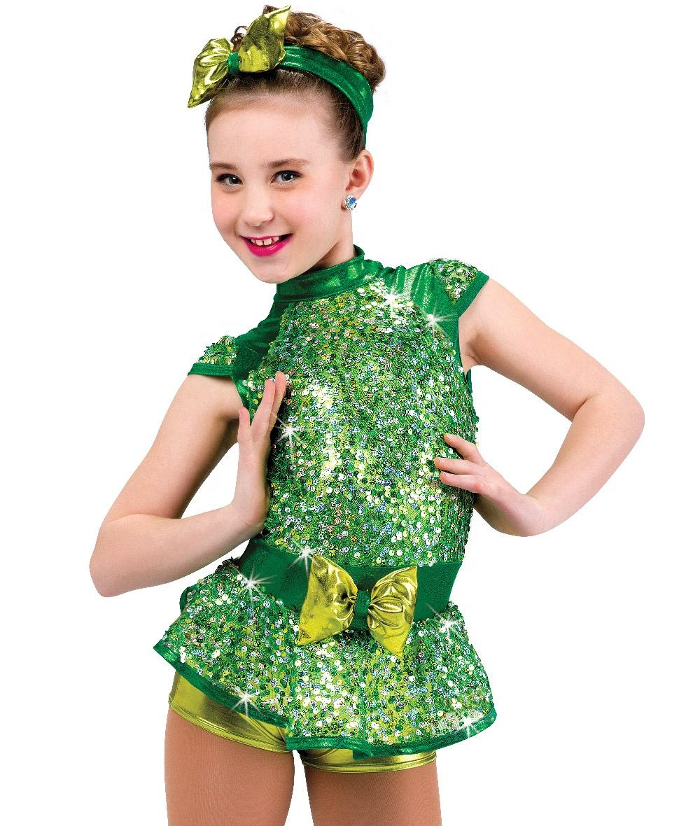 New costumes sequin green ballet tutu girls fashion stage performance dance wear wholesale girl tutu