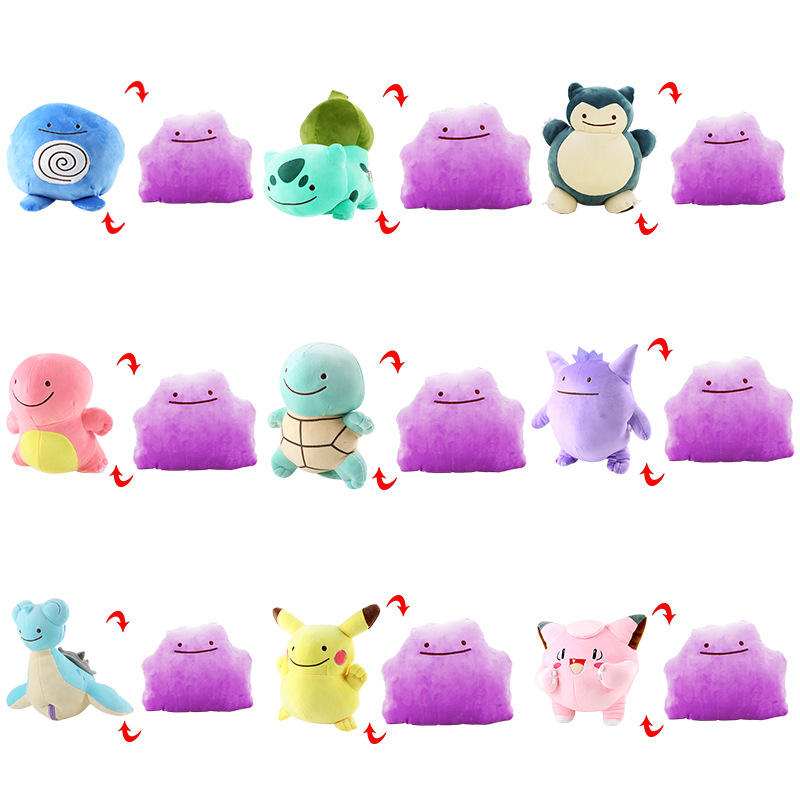 18cm Ditto Transfer Snorlax Plüsch tier 2 In 1 Hot Sale Großhandel Cute Pillow Reversible Stuff Stofftier für Geschenke