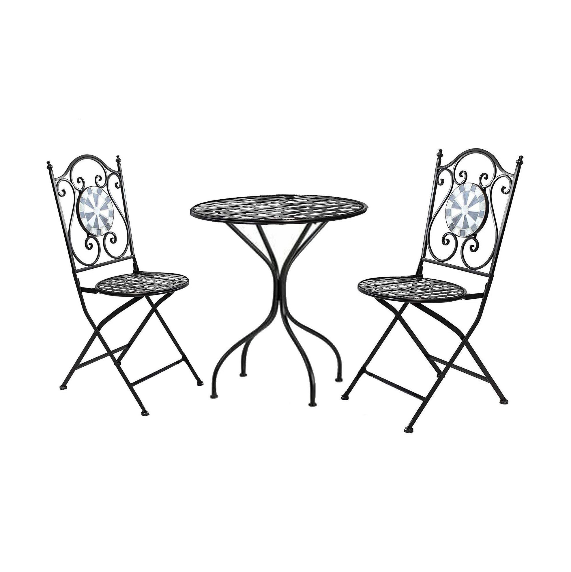 3 Piece Mosaic Metal Wrought Iron Outdoor Furniture Foldable Bistro Cafe Set