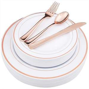 25 Guest Rose Gold Rim Charger Plastic Dinner Plates Silverware Disposable Dinnerware Sets for wedding parties