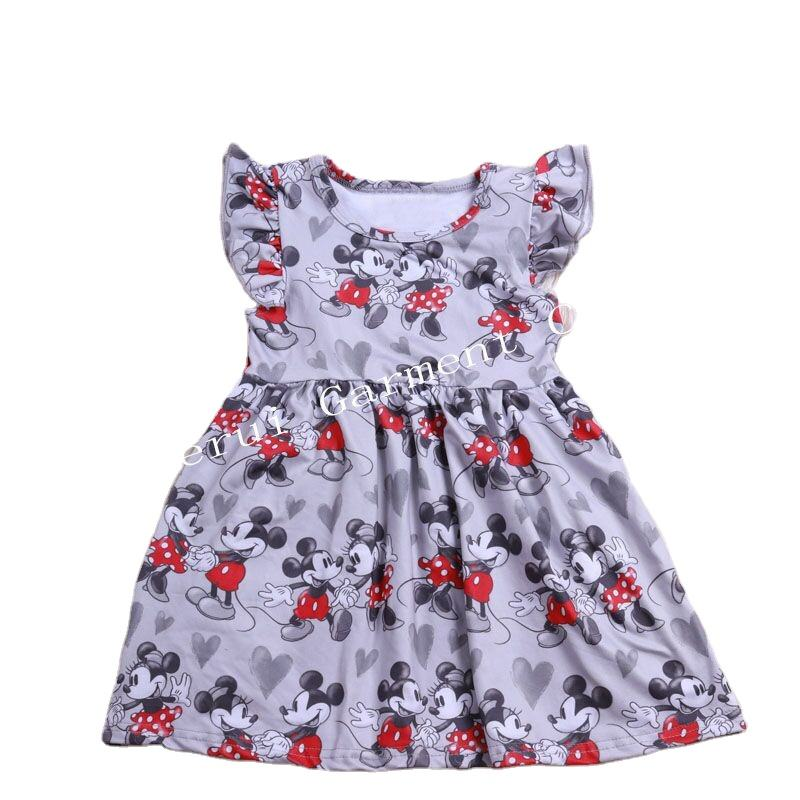 2020 new design baby girls cartoon frocks fancy girl l dress milk silk short sleeve dress skirts fashion