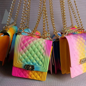 jelly handbags 2020 New Women's Hot selling jelly shoulder colorful PVC purse tote matte shoulder handbag jelly purse