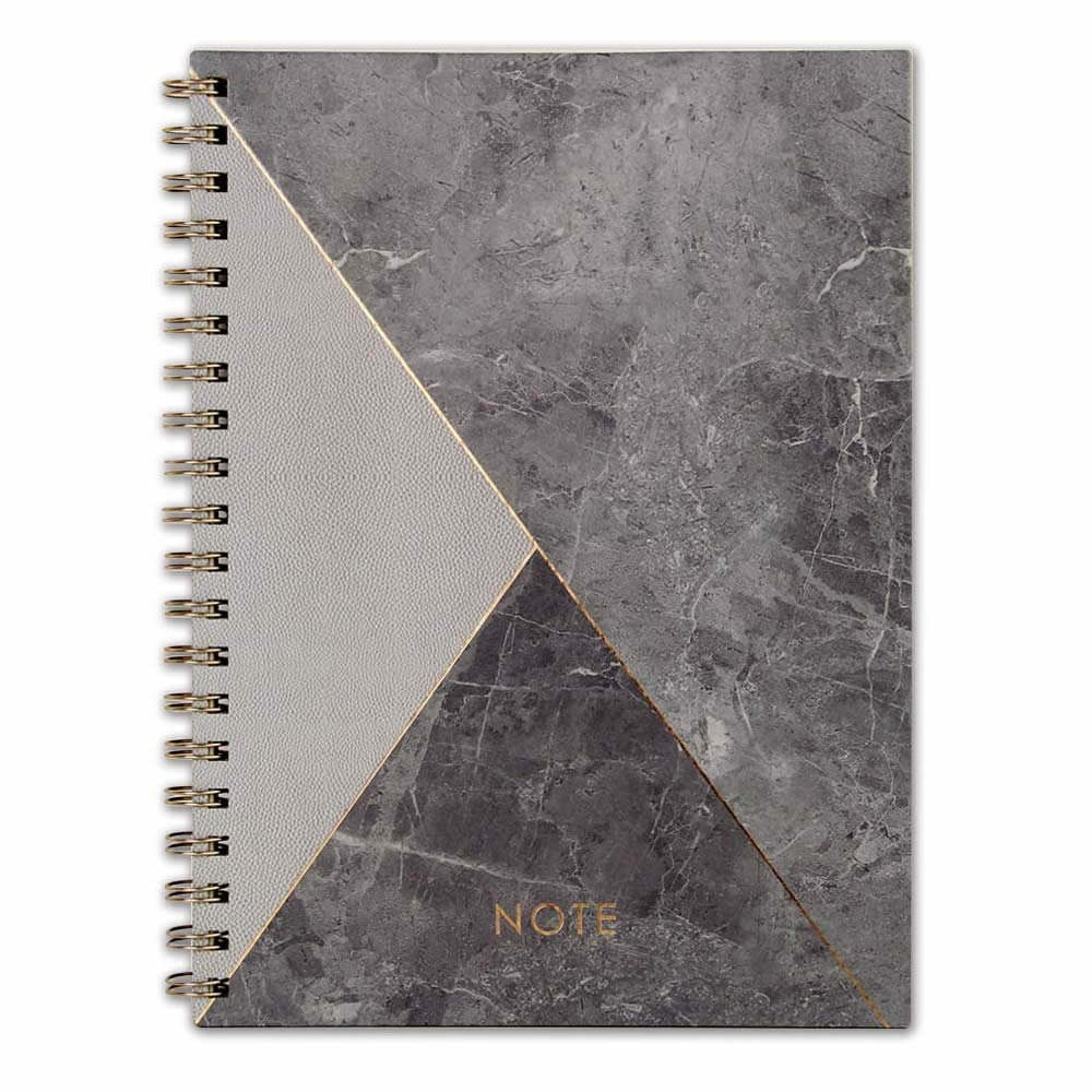 Fancy Journal Spiral Bound Black Marble with Gold Logo Custom Pages