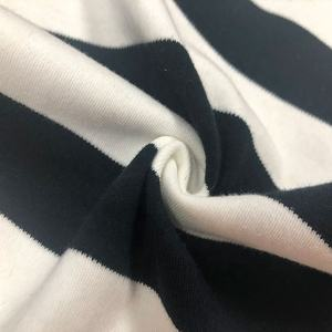 keqiao spandex5% textile fabrics black white striped cotton fabric