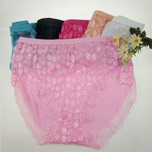 Floral Lace Hipster Underwear Multiple Colors High Waist Panty Lacy Bottom Polyester Briefs Women's Cheeky Panties