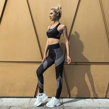 Fashion print elastic tracksuit 2 piece set woman 2020 Sportswear sleeveless vest crop top high waist leggings fitness set