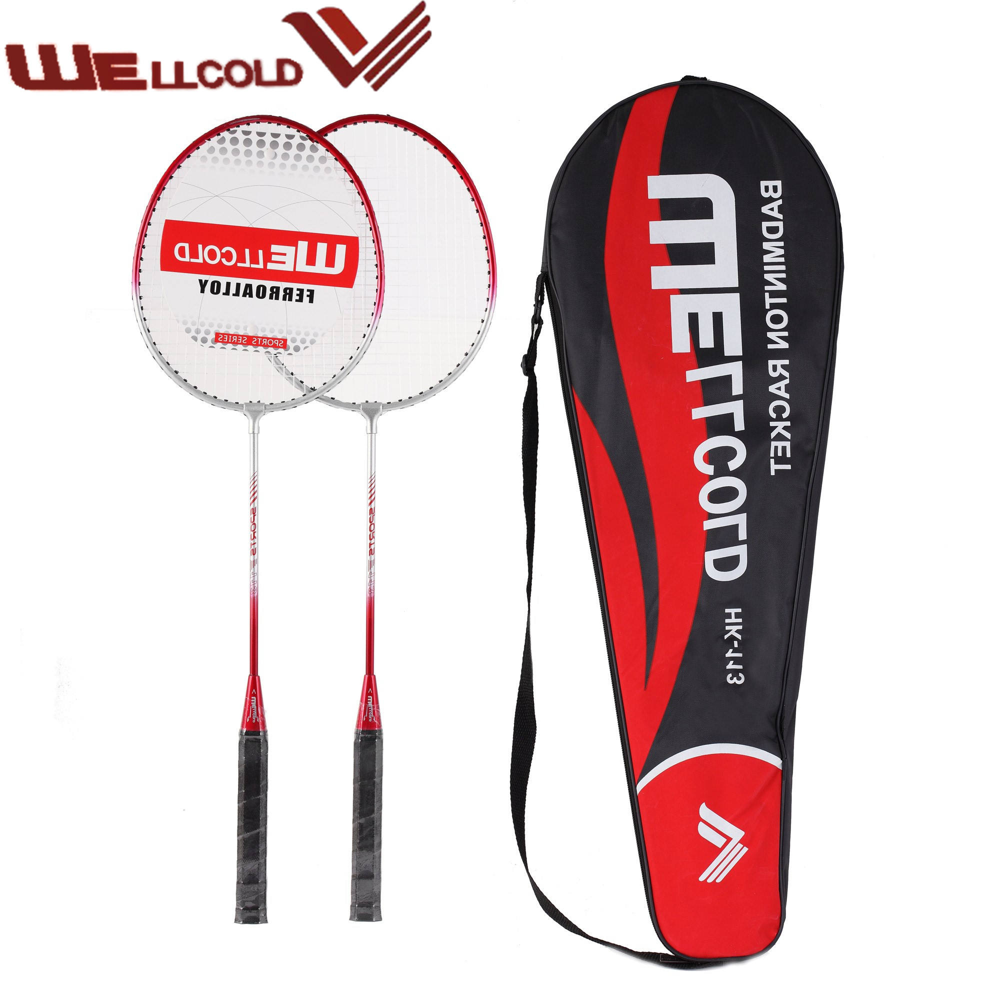 Wellcold low price lightweight iron alloy badminton rackets with PVC grip