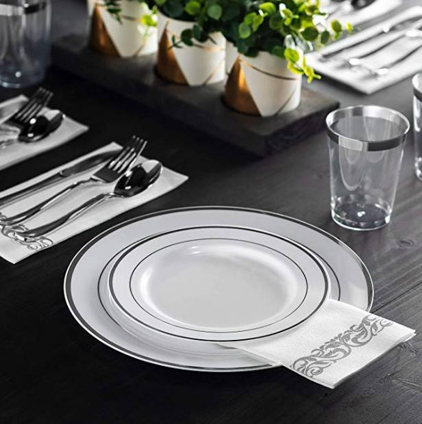 silver disposable plastic wedding party tableware with napkin