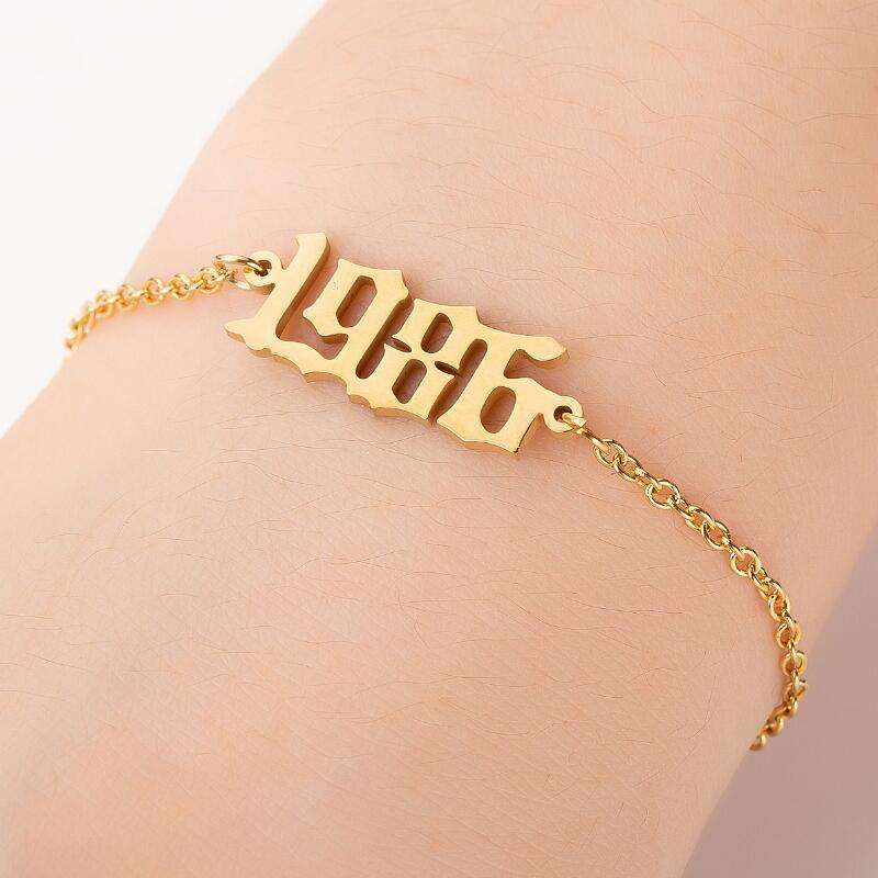 Fashionable Birthday Gift 1980-2019 Digital Stainless Steel Luxury Ankle Bracelet For Women Jewelry