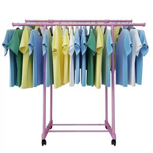 Stainless steel double pole lifting telescopic clothes rack laundry hanging drying rack