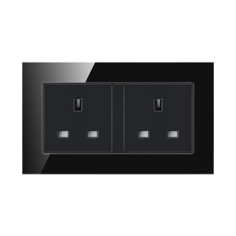 FIKO Type 147 hotel office household wall two British style 13A square angle three-hole socket black steeled glass panel