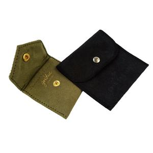Custom Logo Envelope-shaped Faux Suede Fabric Jewelry Packaging Gift Pouch/Bag with Flap and Snap Button