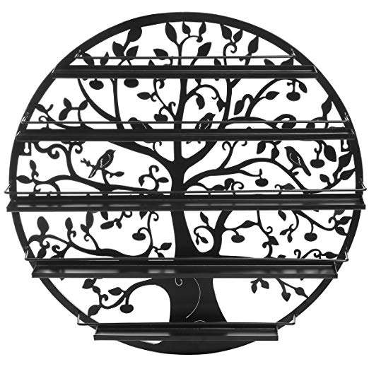 Custom Round Metal Wire Wall Mounted Nail Polish Display Rack Black
