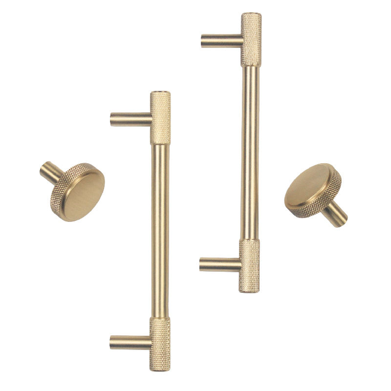 Gold Knurled/Textured simple kitchen cabinet knobs and handles Drawer Pulls Bedroom Knobs Brass Cabinet Hardware C-2286