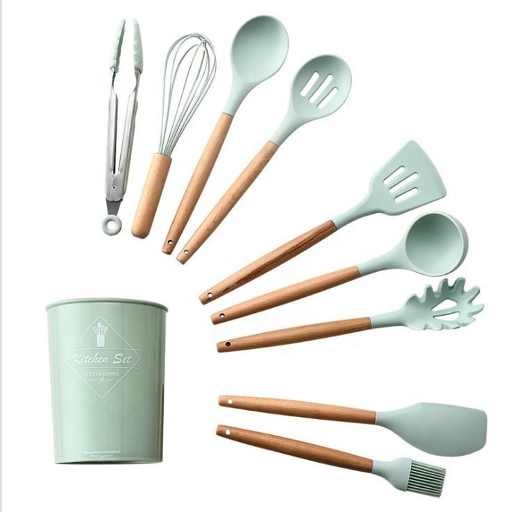 9pcs 11pcs silicone green kitchen utensil set with beech handle kitchen accessories