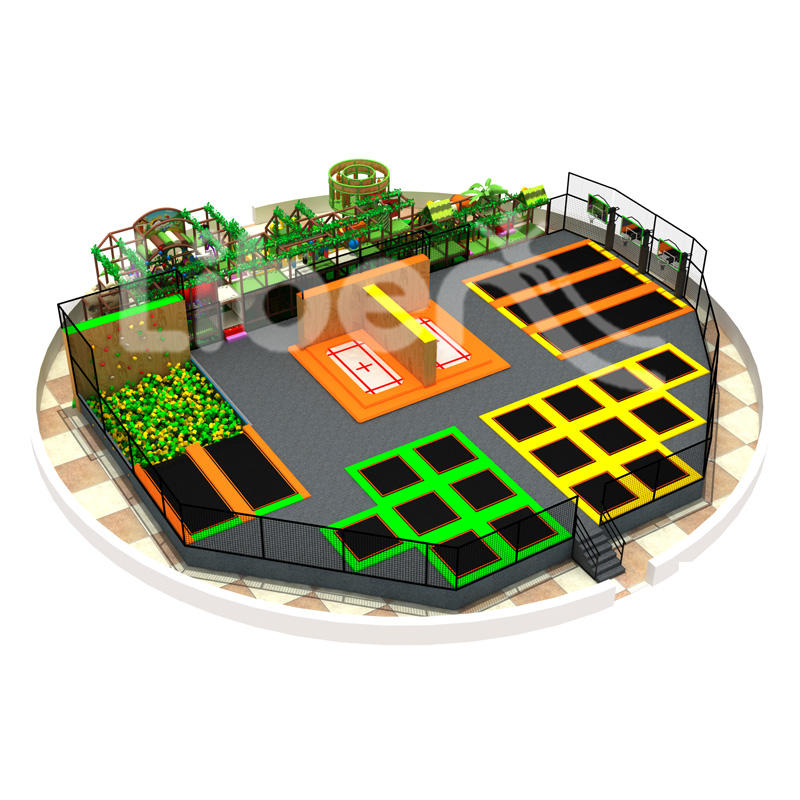 Commercial Kids Indoor Trampoline Park With Indoor Playground