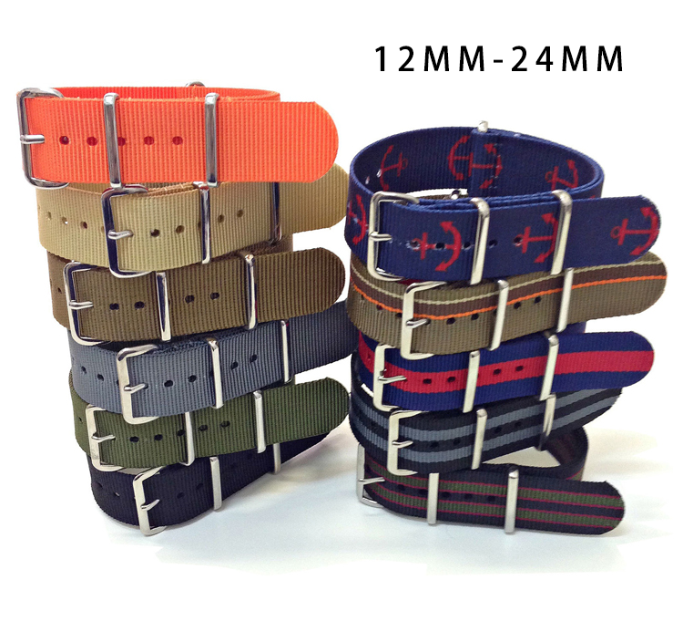 Custom Printed 26mm Bulk Wholesale Camouflage Thick Custom Color Gold Nylon Watch Nato Strap