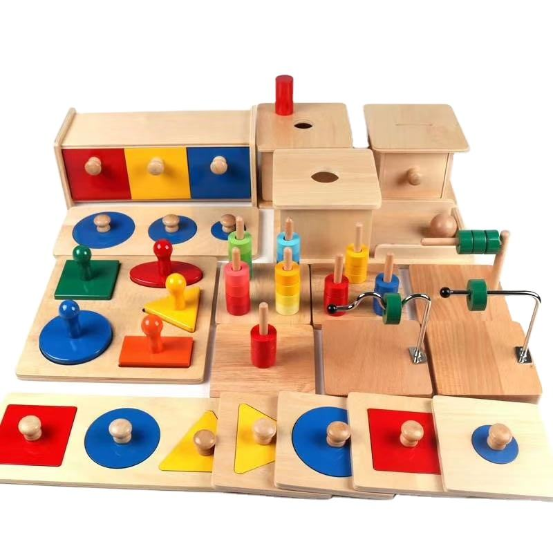 Kindergarten Wooden Educational Montessori Teaching Aids Toys Imbucare Box Ball