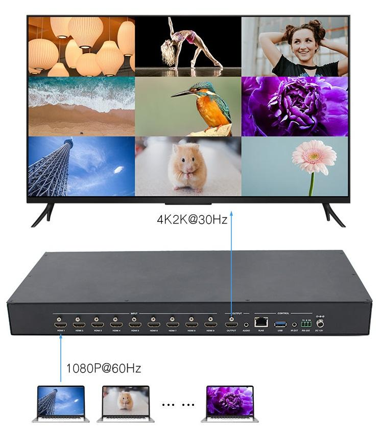 LINK-MI 9x1 4x1 2x1 Seamless Switcher HDMI Multi-viewer 4K2K Support 1/2/4/9 multi-view modes RS-232 LAN Control Multiviewer